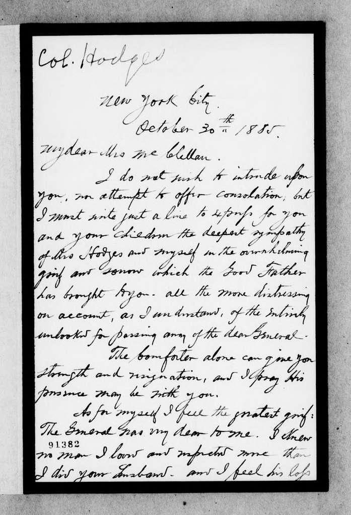 George Brinton McClellan Papers: Correspondence II, 1823-1898; 1885; Oct. 30-Nov. 2