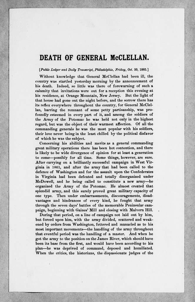 George Brinton McClellan Papers: Correspondence II, 1823-1898; 1885; Oct. 30-Nov. 2