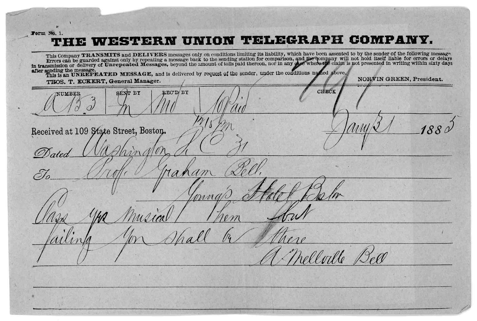 Telegram from Alexander Melville Bell to Alexander Graham Bell, January 31, 1885