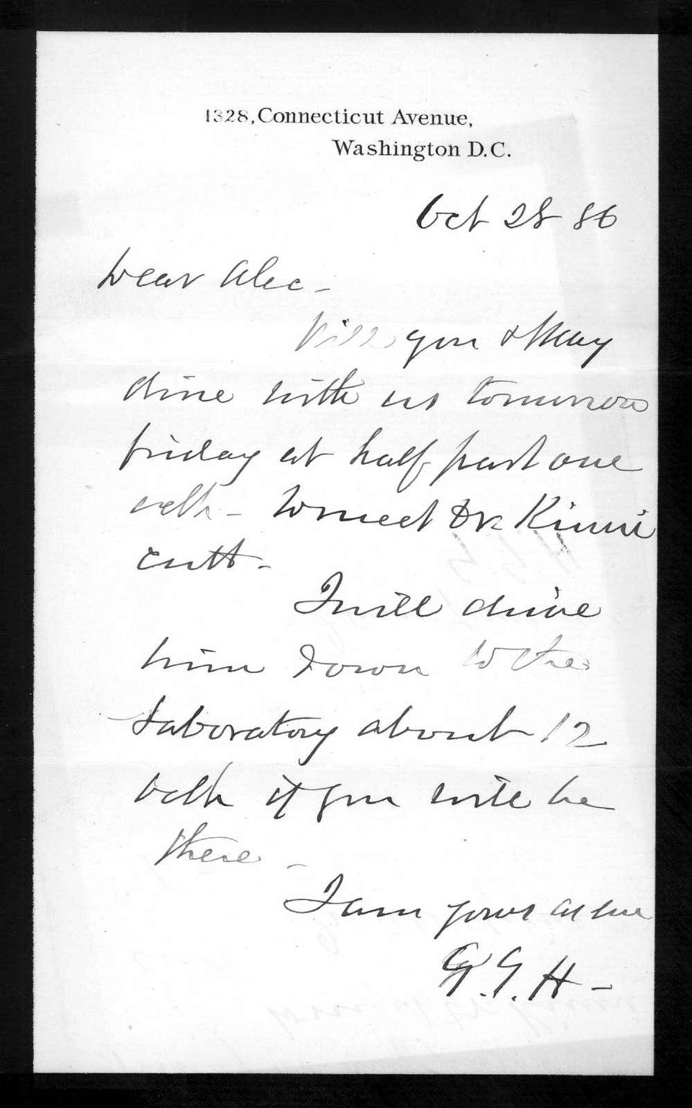 Letter from Gardiner Greene Hubbard to Alexander Graham Bell, October 28, 1886