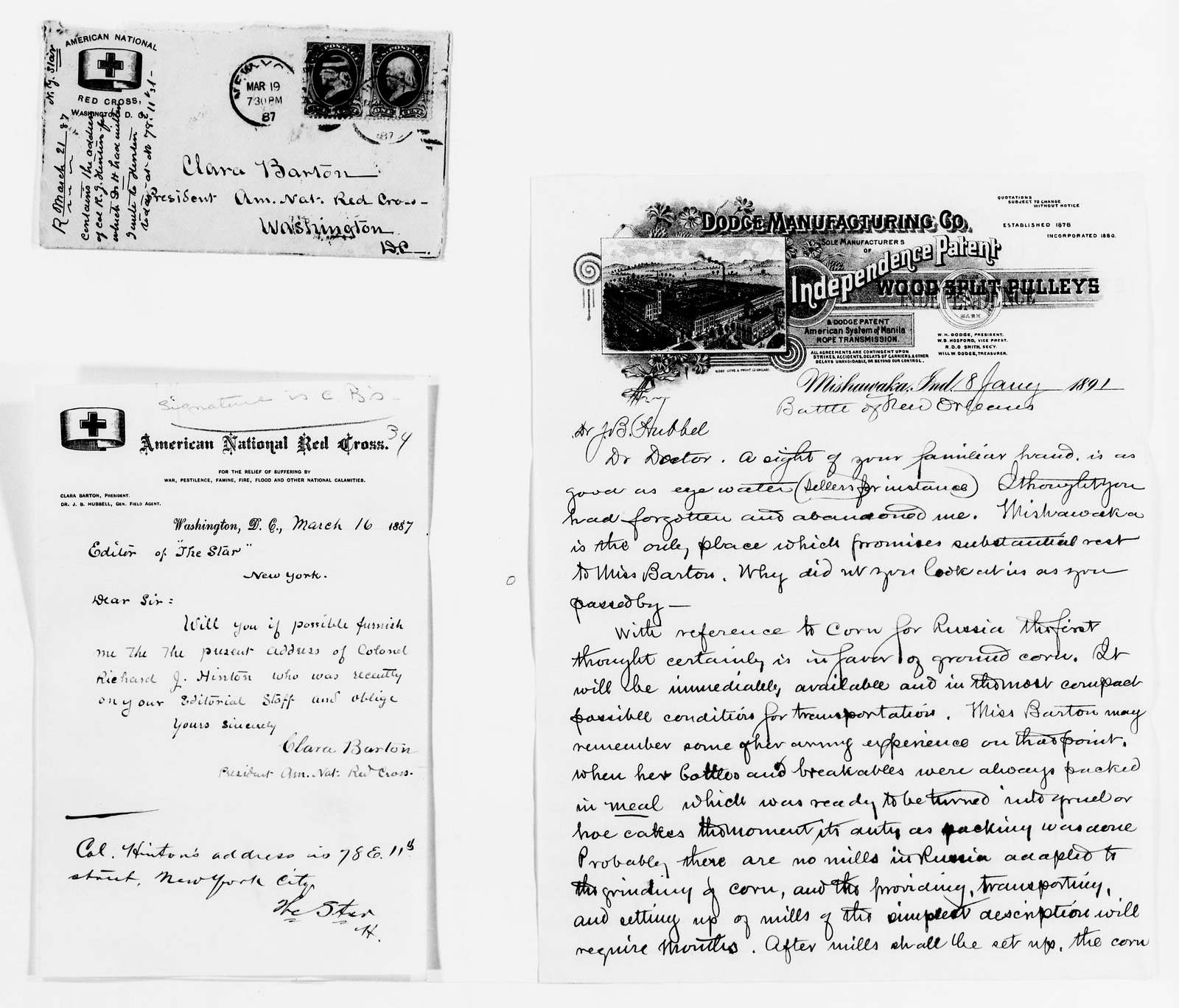 Clara Barton Papers: Red Cross File, 1863-1957; American National Red Cross, 1878-1957; Relief operations; Russia; Correspondence; 1887, Mar.-1892, Mar