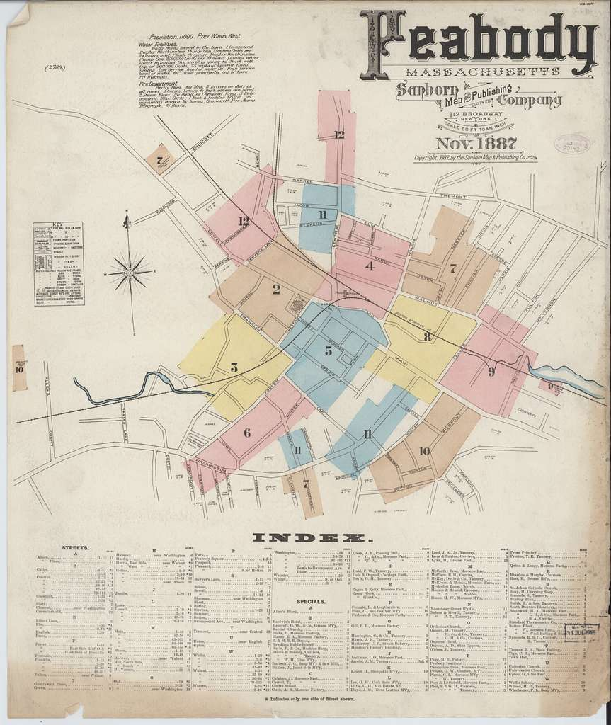 Sanborn Fire Insurance Map from Peabody, Essex County, Massachusetts