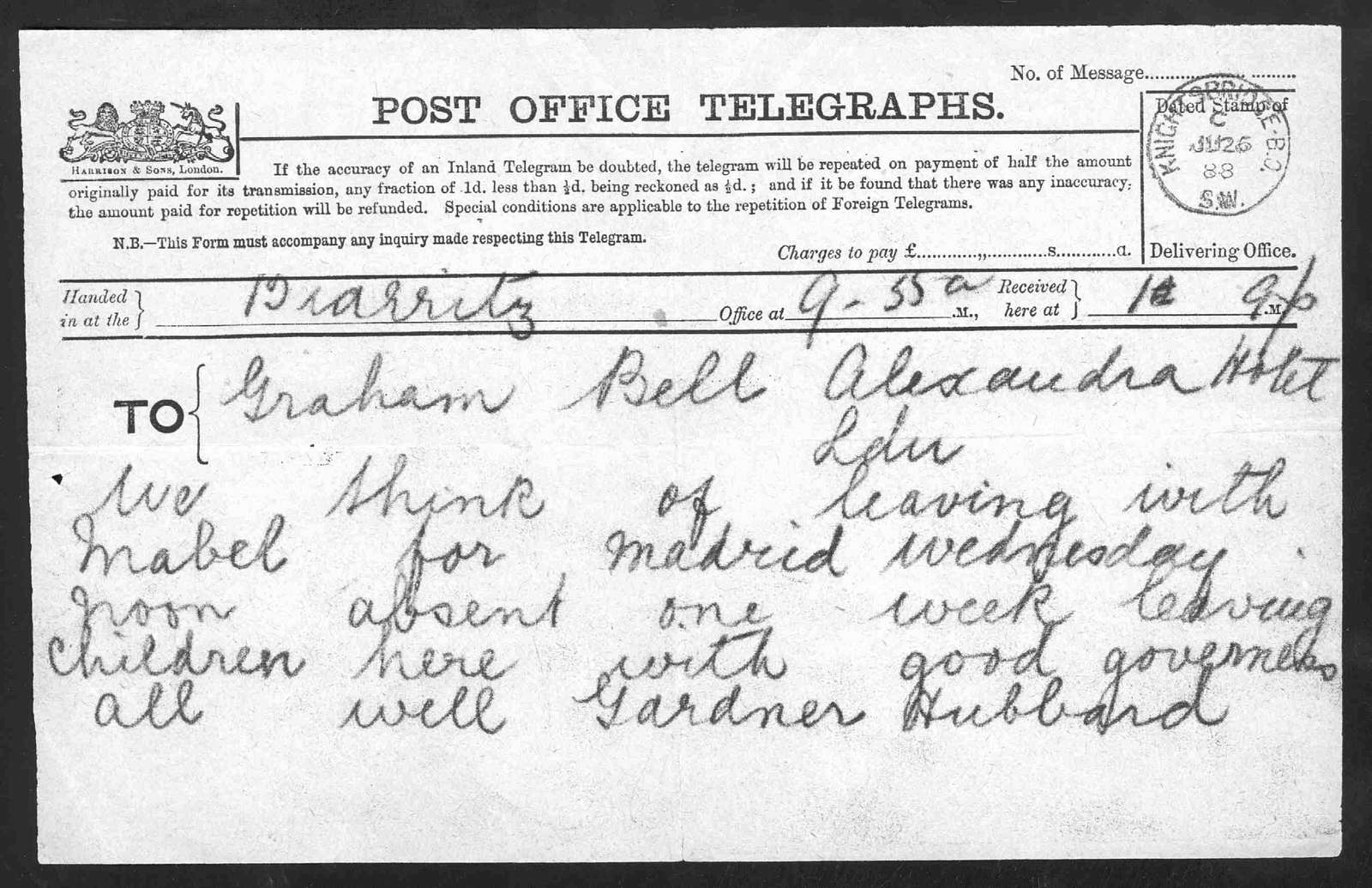 Telegram from Gardiner Greene Hubbard to Alexander Graham Bell, June 26, 1888