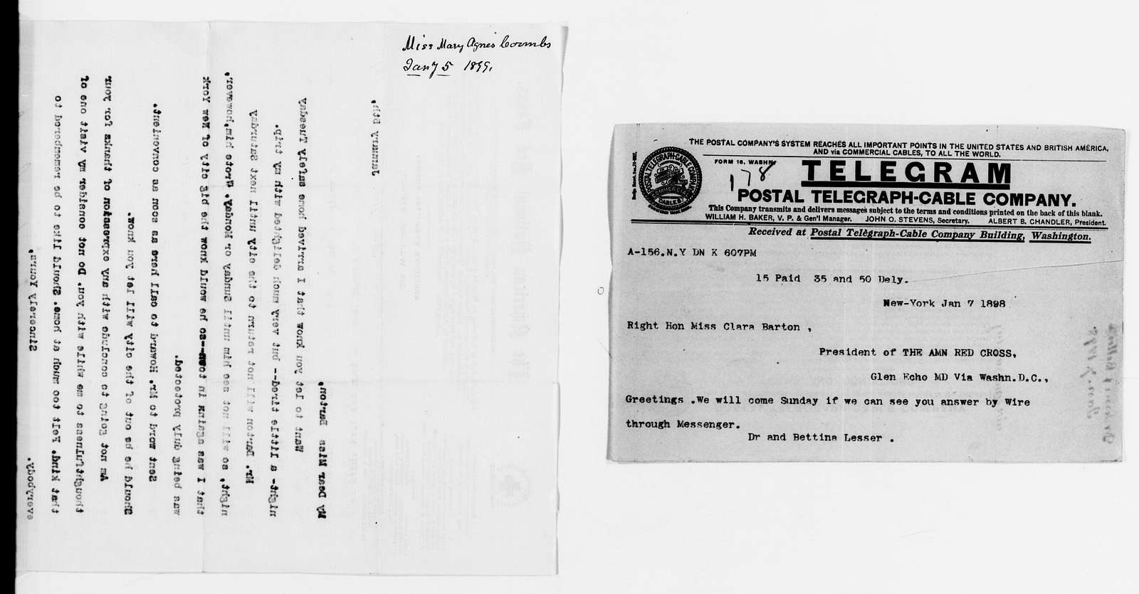 Clara Barton Papers: Red Cross File, 1863-1957; American National Red Cross, 1878-1957; Correspondence; 1889, Jan.-1900, Aug