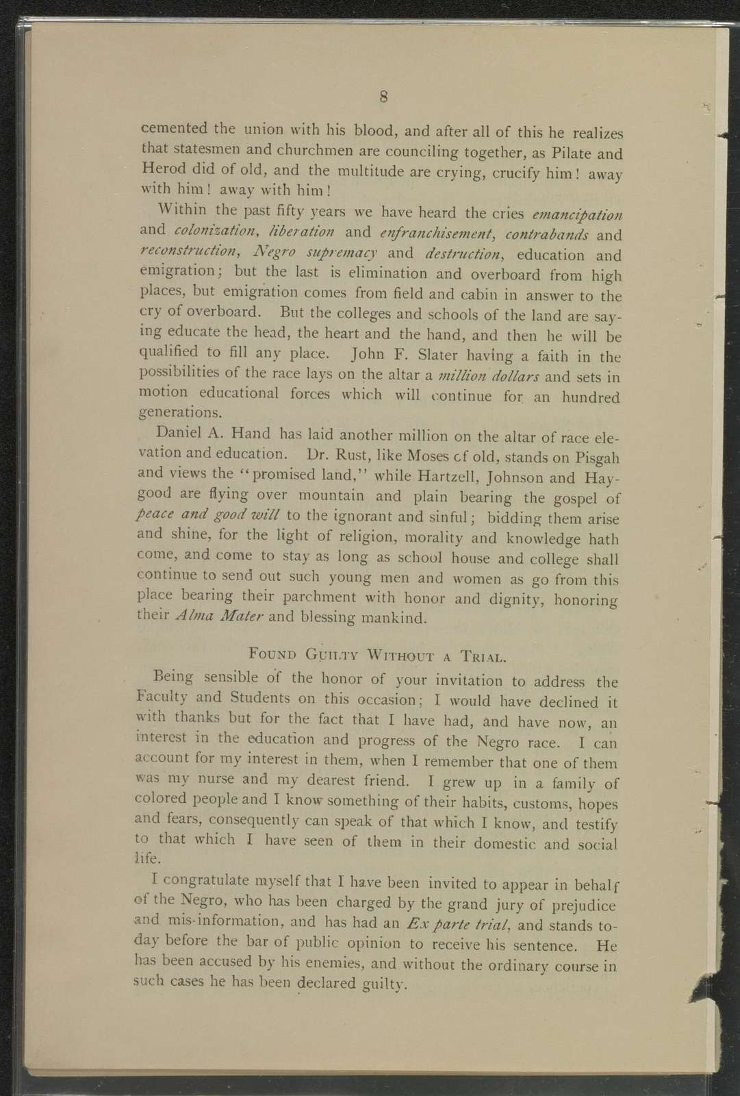 The annual address delivered before the faculty, students, and friends of Claflin University and the Claflin College of Agriculture & Mechanical Institute, May 22nd, 1889, Orangeburg, S.C