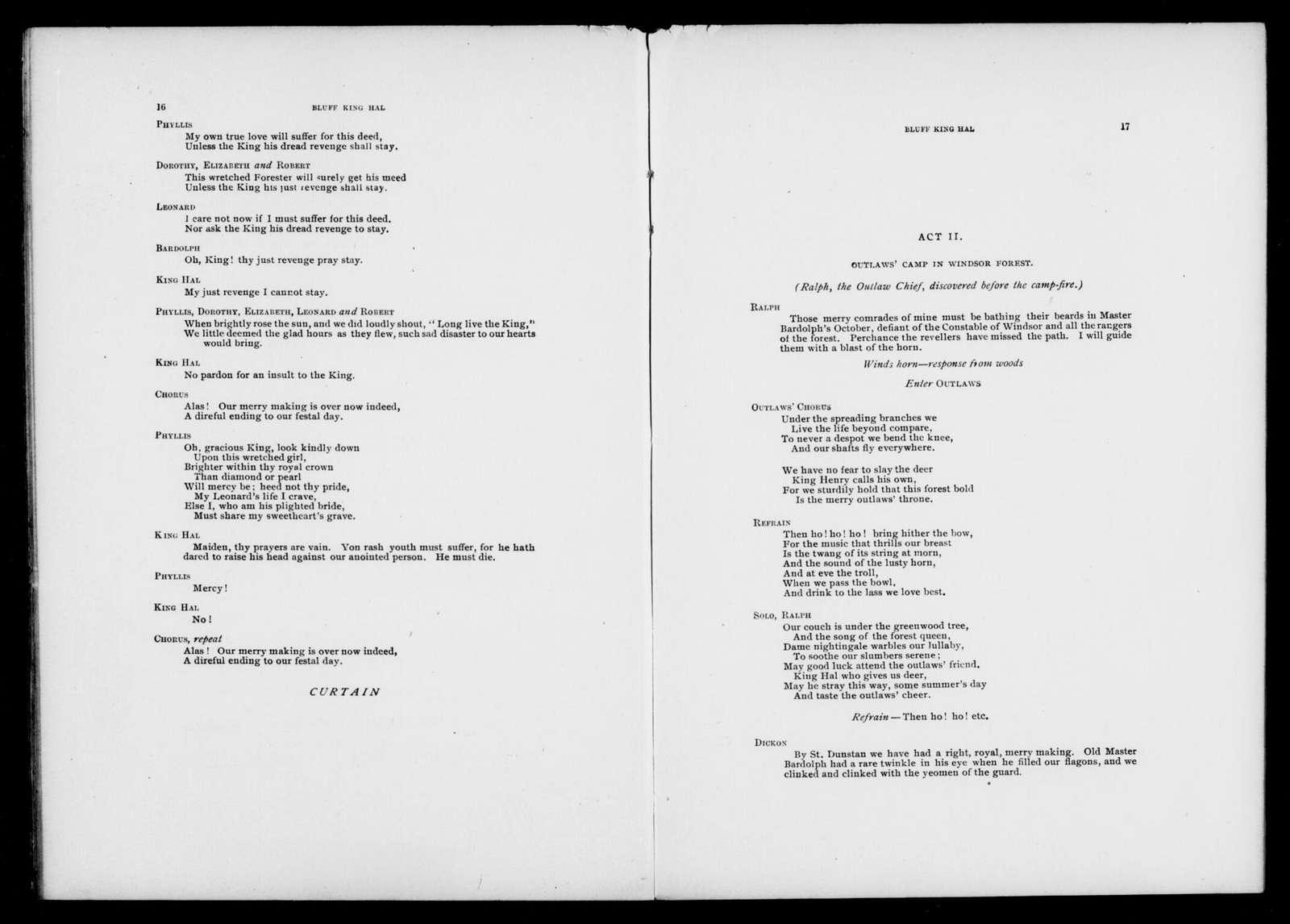 Bluff King Hal. Libretto. English