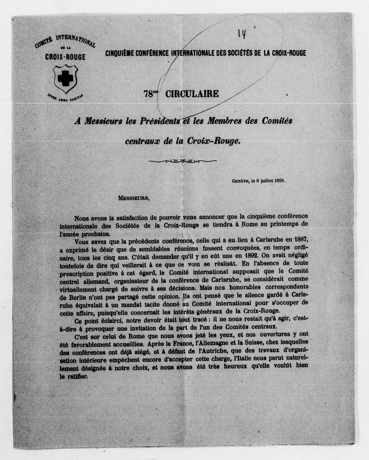 Clara Barton Papers: Red Cross File, 1863-1957; International Committee of the Red Cross, 1863-1919; Conferences; Fifth International Red Cross Conference, Rome, Italy, Apr. 1892