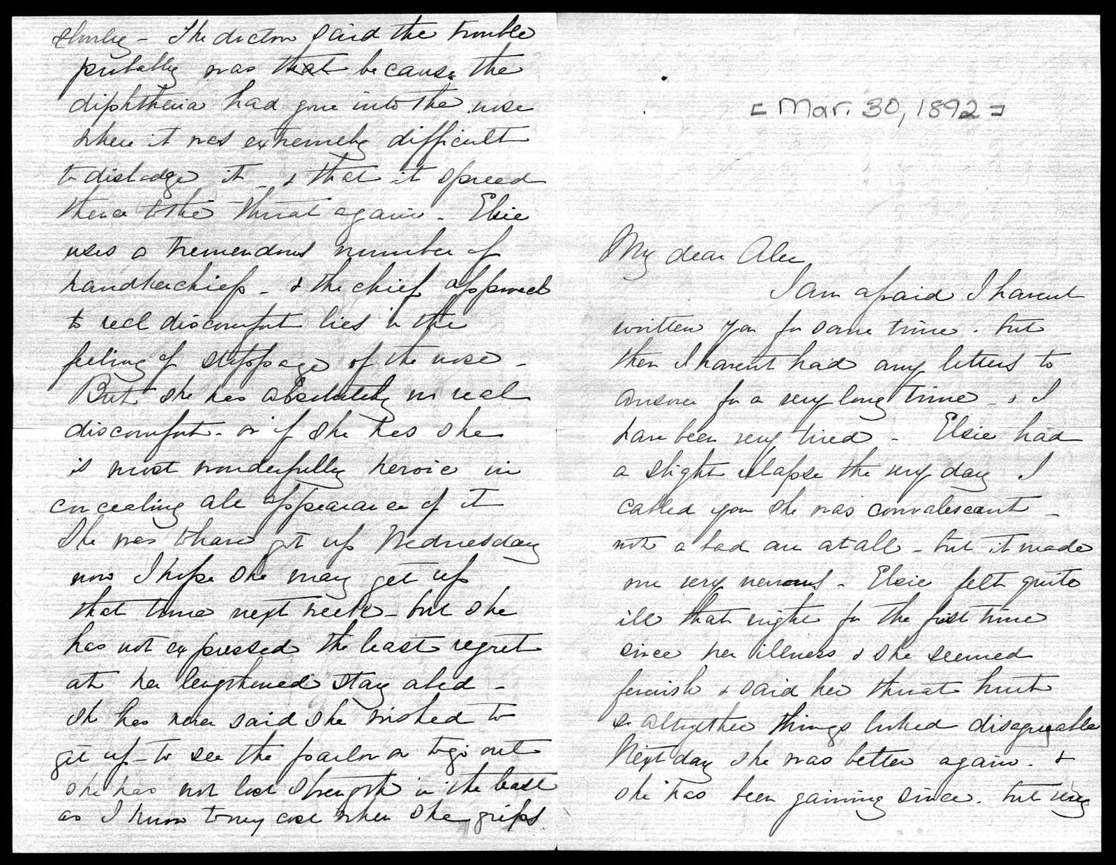 Letter from Mabel Hubbard Bell to Alexander Graham Bell, March 30, 1892