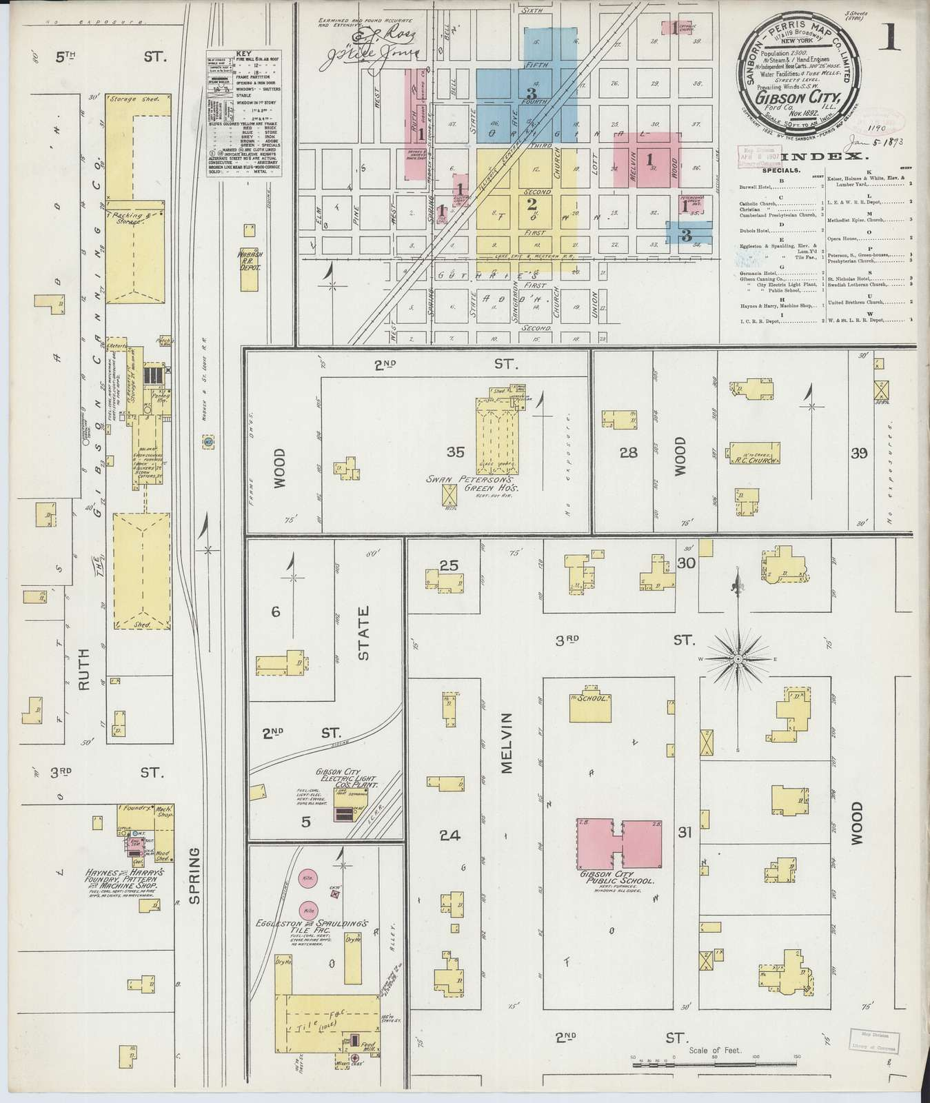 Sanborn Fire Insurance Map from Gibson City, Ford County, Illinois