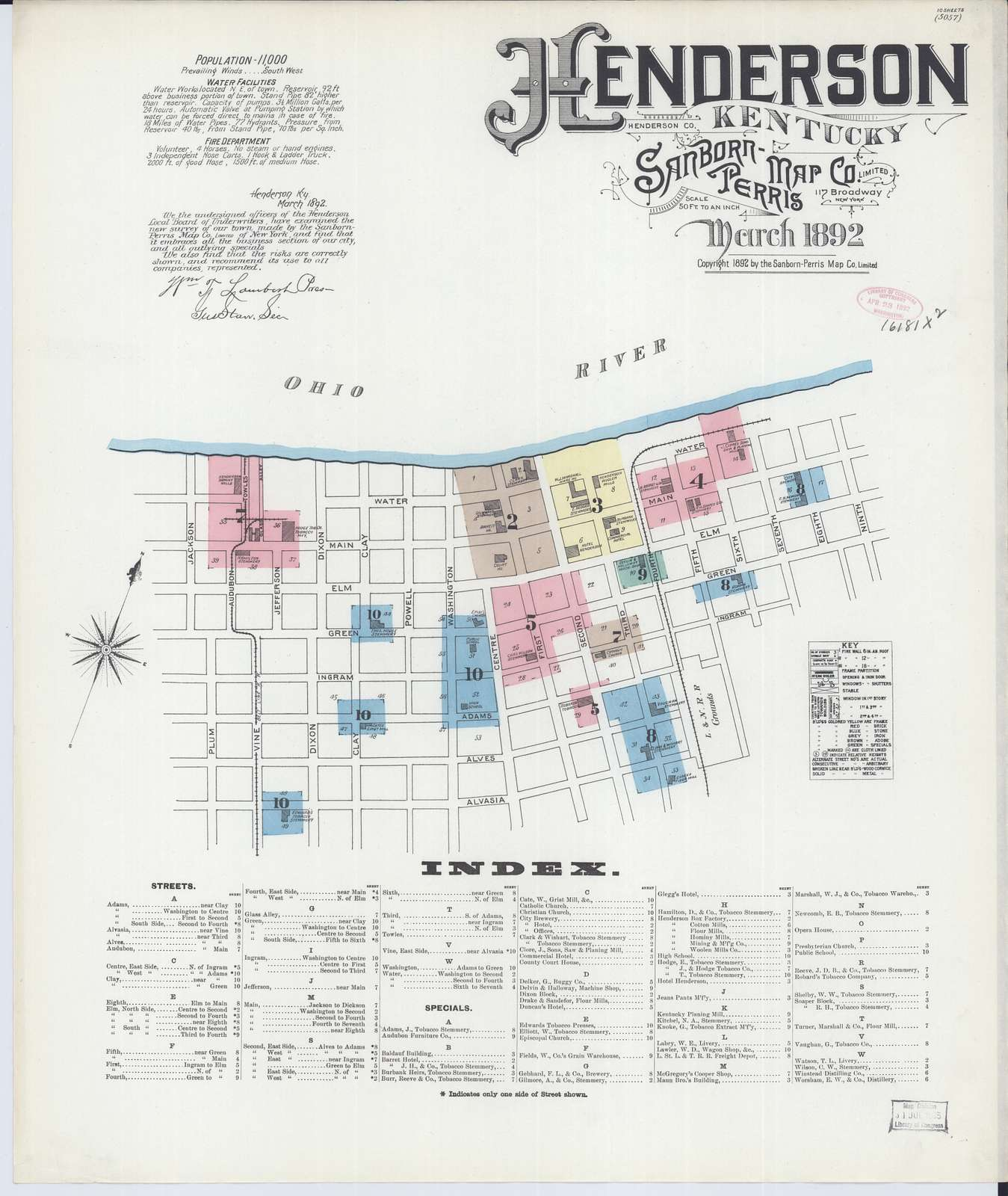 Sanborn Fire Insurance Map from Henderson, Henderson County, Kentucky
