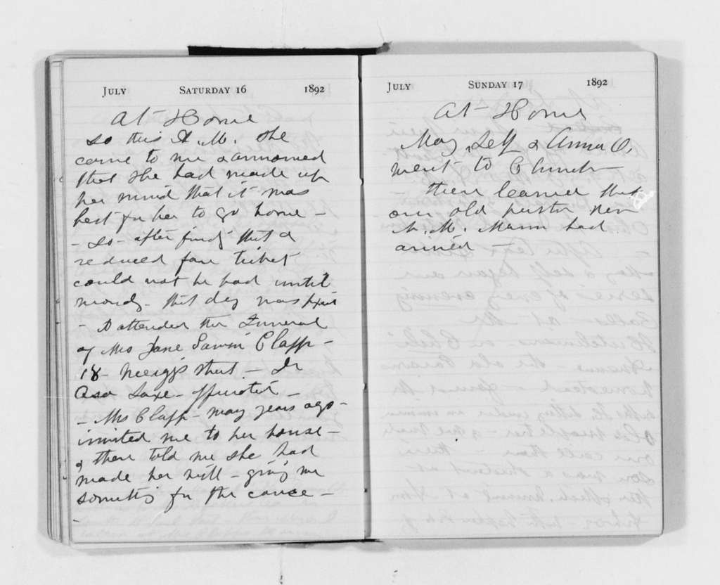 Susan B. Anthony Papers: Daybook and Diaries, 1856-1906; Diaries; 1892