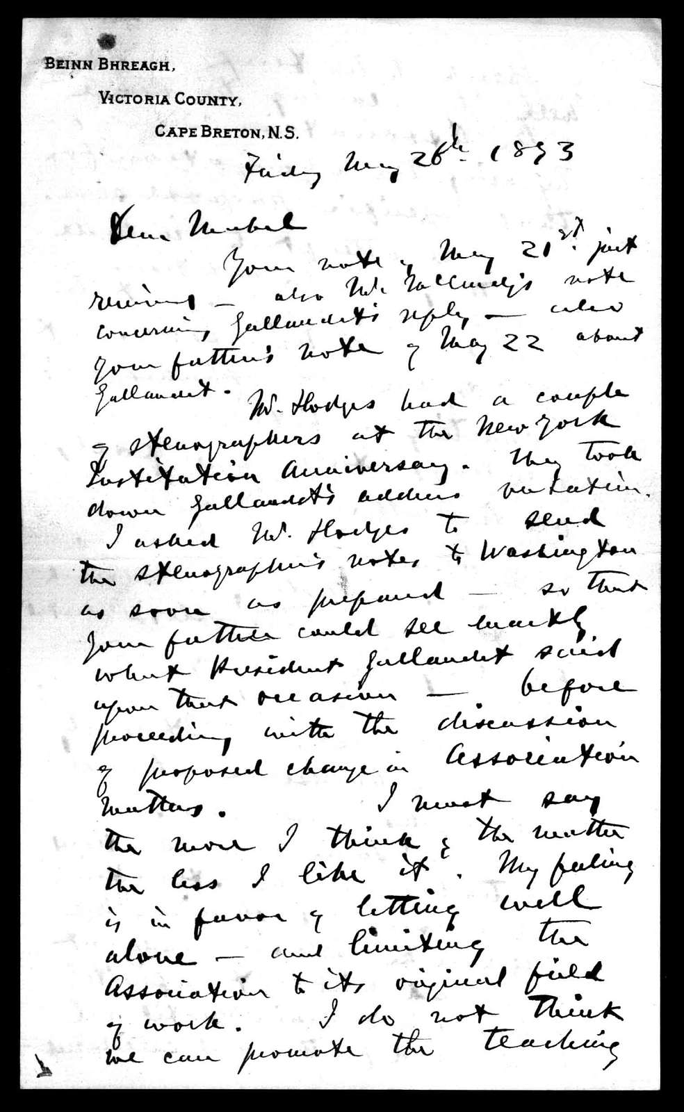 Letter from Alexander Graham Bell to Mabel Hubbard Bell, May 26, 1893