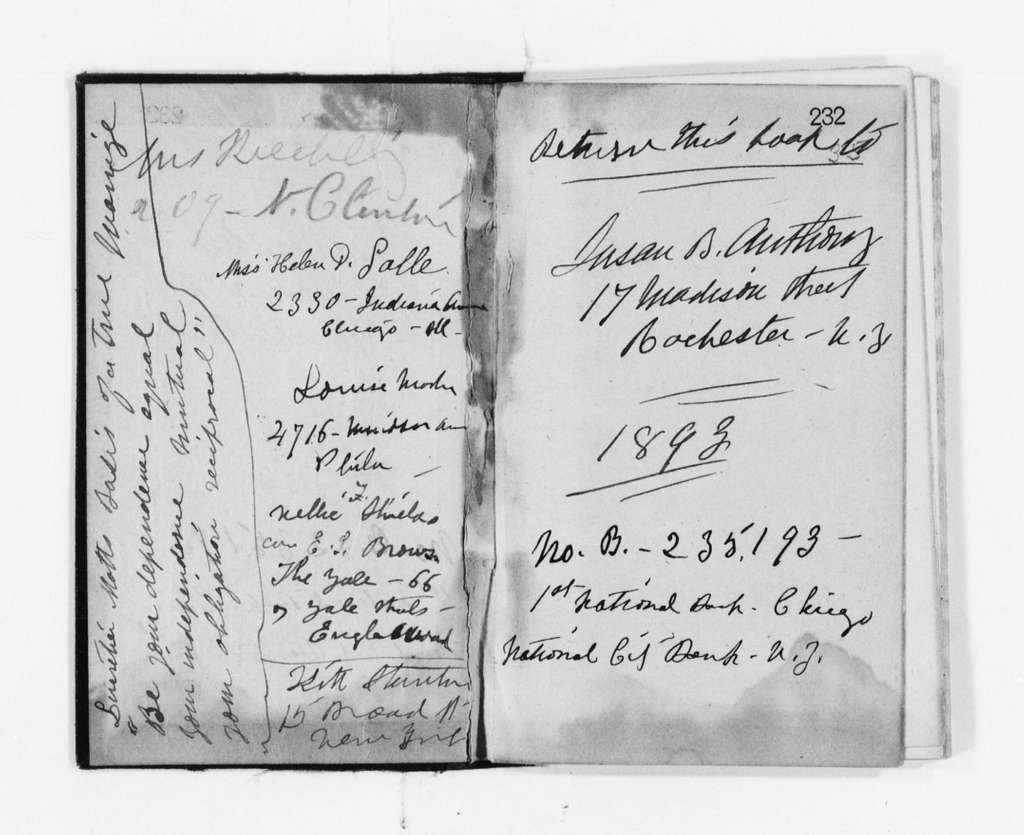 Susan B. Anthony Papers: Daybook and Diaries, 1856-1906; Diaries; 1893