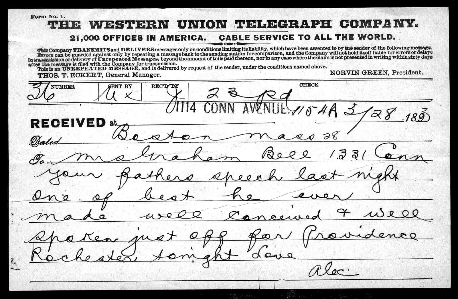 Telegram from Alexander Graham Bell to Mabel Hubbard Bell, March 28, 1893