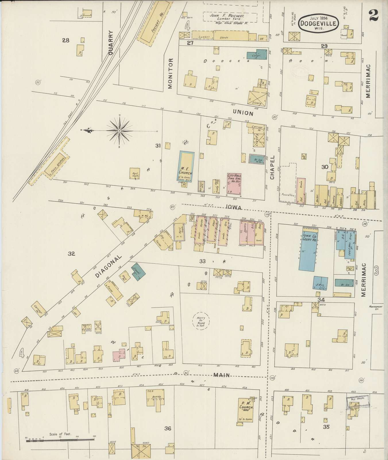 Sanborn Fire Insurance Map from Dodgeville, Iowa County, Wisconsin