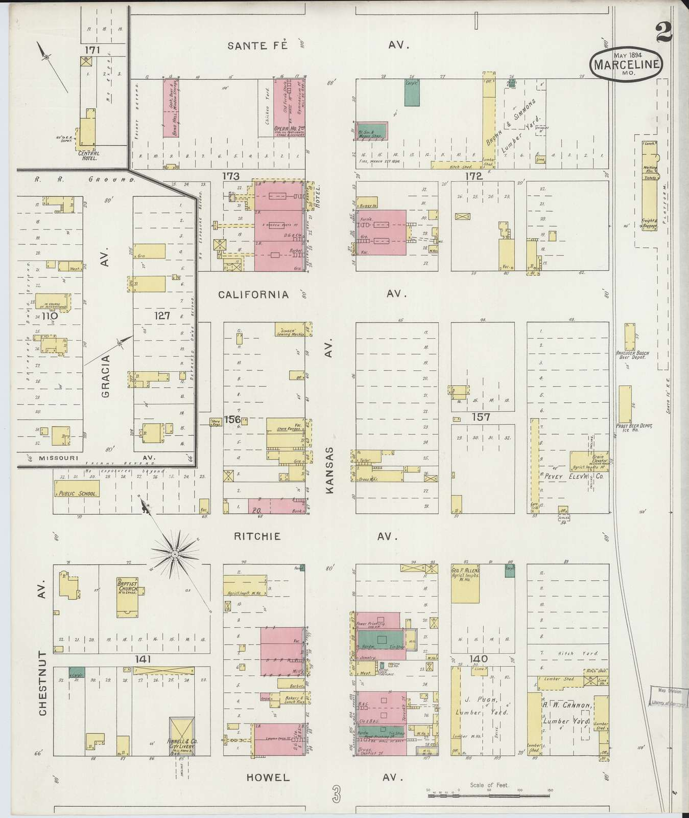 Sanborn Fire Insurance Map from Marceline, Linn County, Missouri