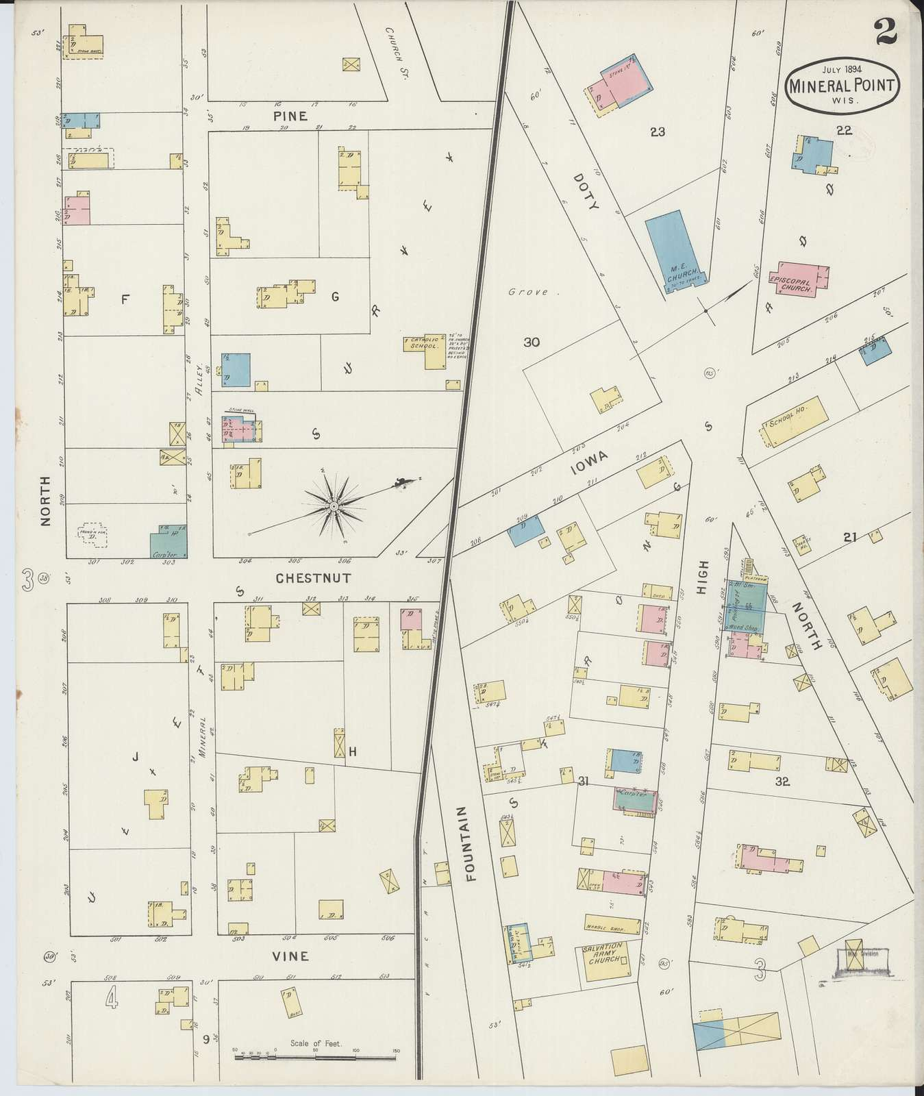 Sanborn Fire Insurance Map from Mineral Point, Iowa County, Wisconsin