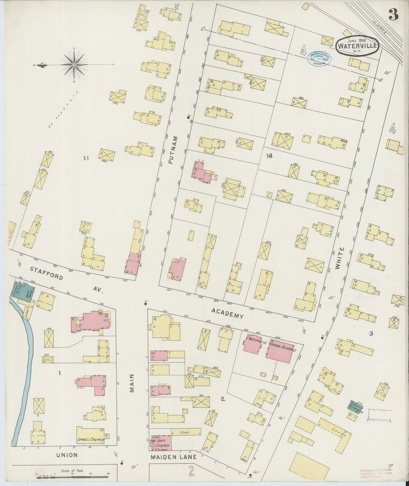 Sanborn Fire Insurance Map from Waterville, Oneida County, New York