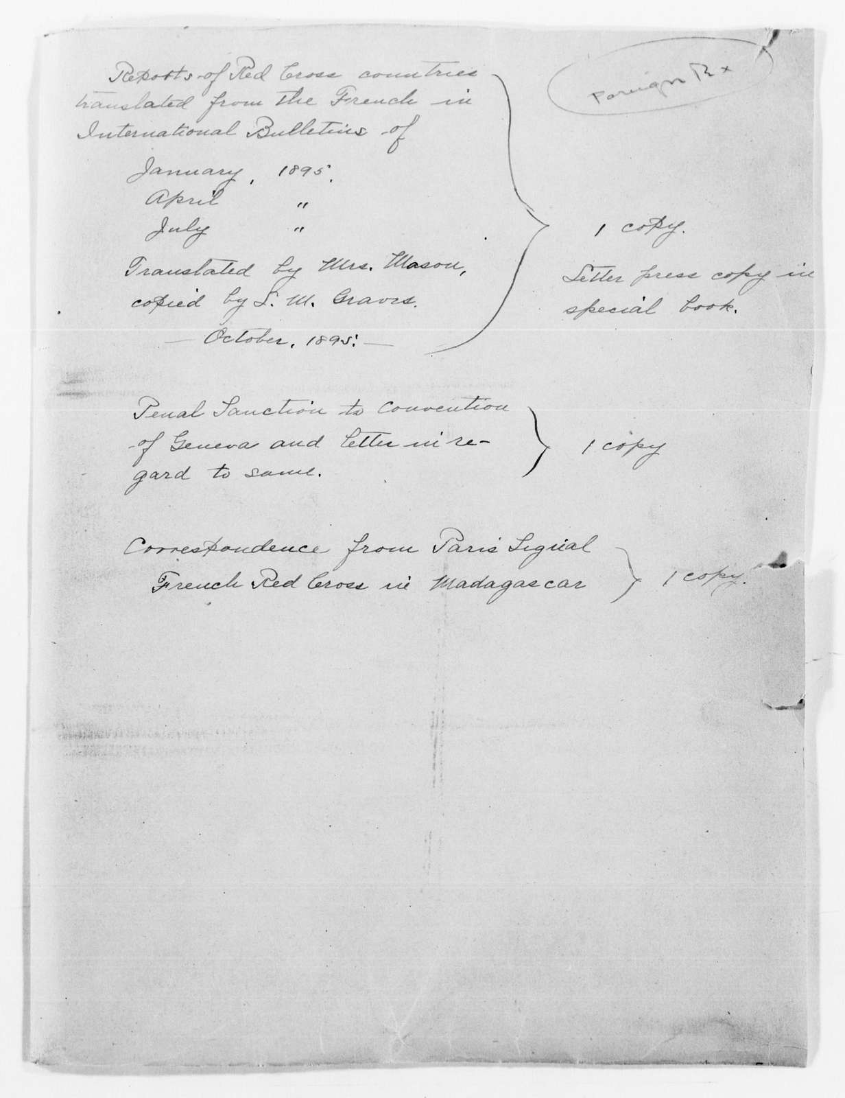 Clara Barton Papers: Red Cross File, 1863-1957; International Committee of the Red Cross, 1863-1919; International Bulletin of the Society of the Red Cross, translations, 1895