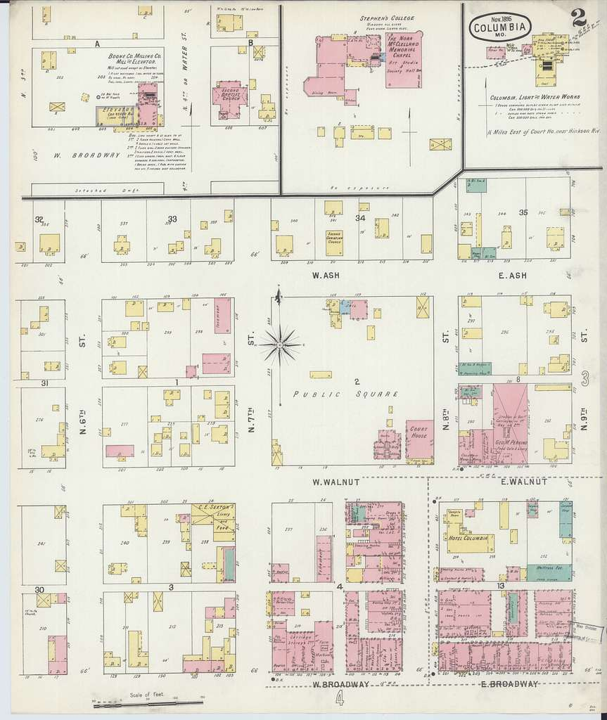 Sanborn Fire Insurance Map from Columbia, Boone County, Missouri