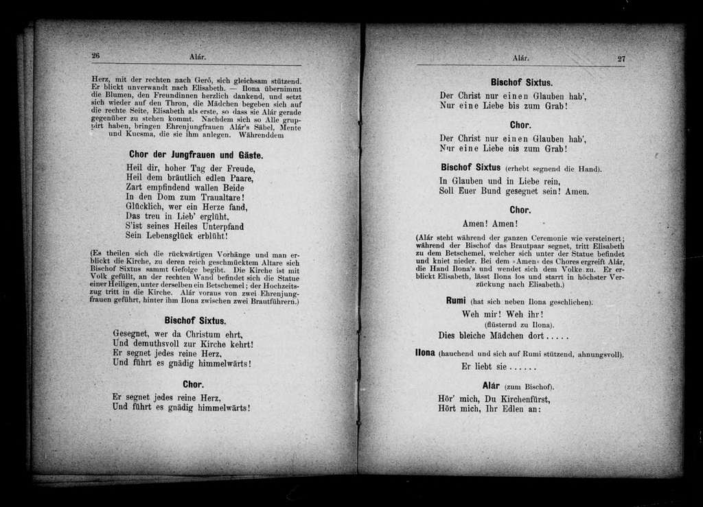 Alár. Libretto. German