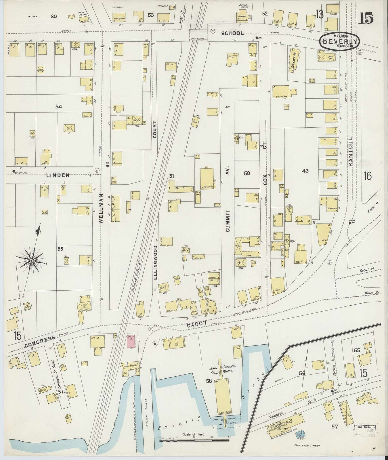 Sanborn Fire Insurance Map from Beverly, Essex County, Massachusetts