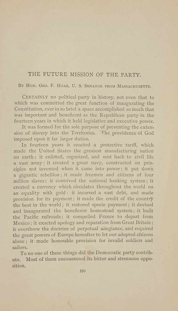 The Republican party: its history, principles and policies