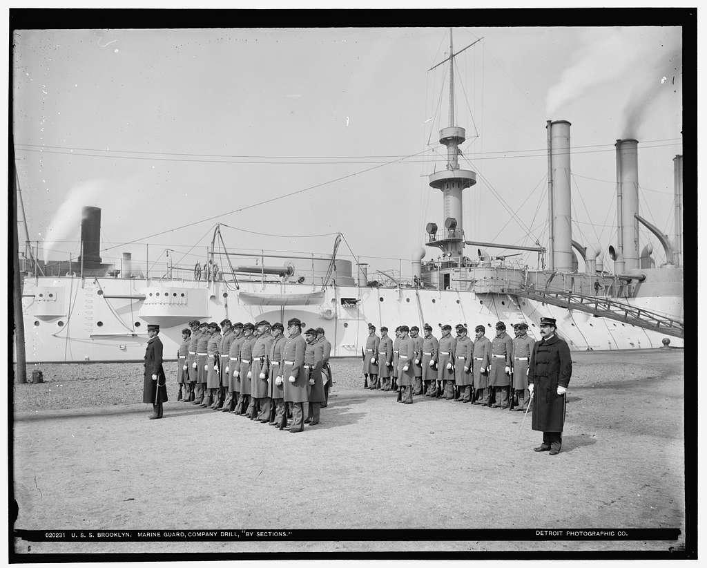 U.S.S. Brooklyn, Marine guard, company drill by sections