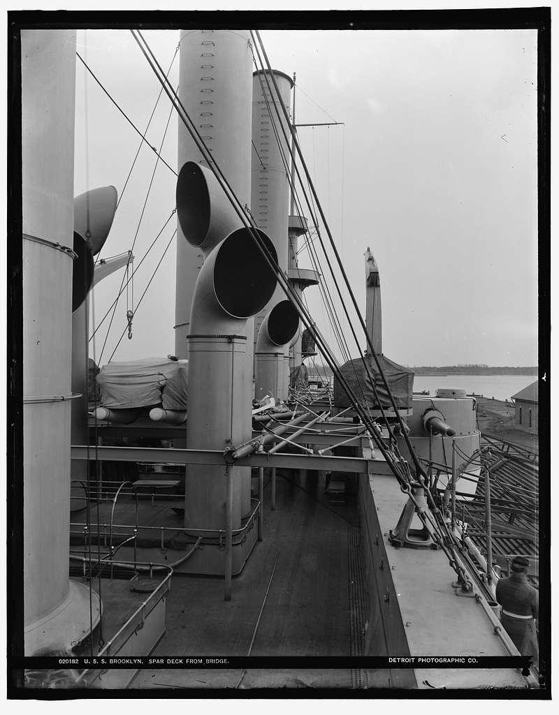 U.S.S. Brooklyn spar deck from bridge