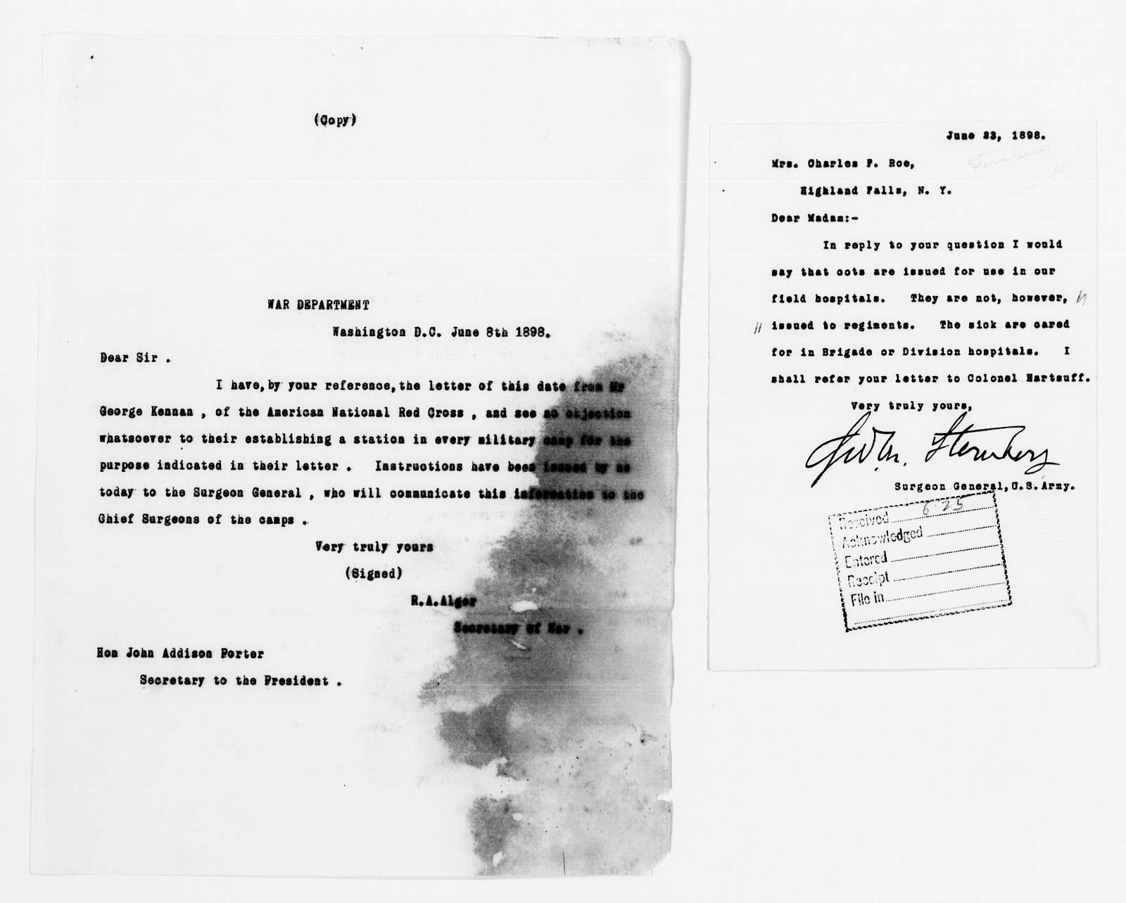 Clara Barton Papers: Red Cross File, 1863-1957; American National Red Cross, 1878-1957; Relief operations; Spanish-American War; U.S. Government; War Department, 1897-1899, undated