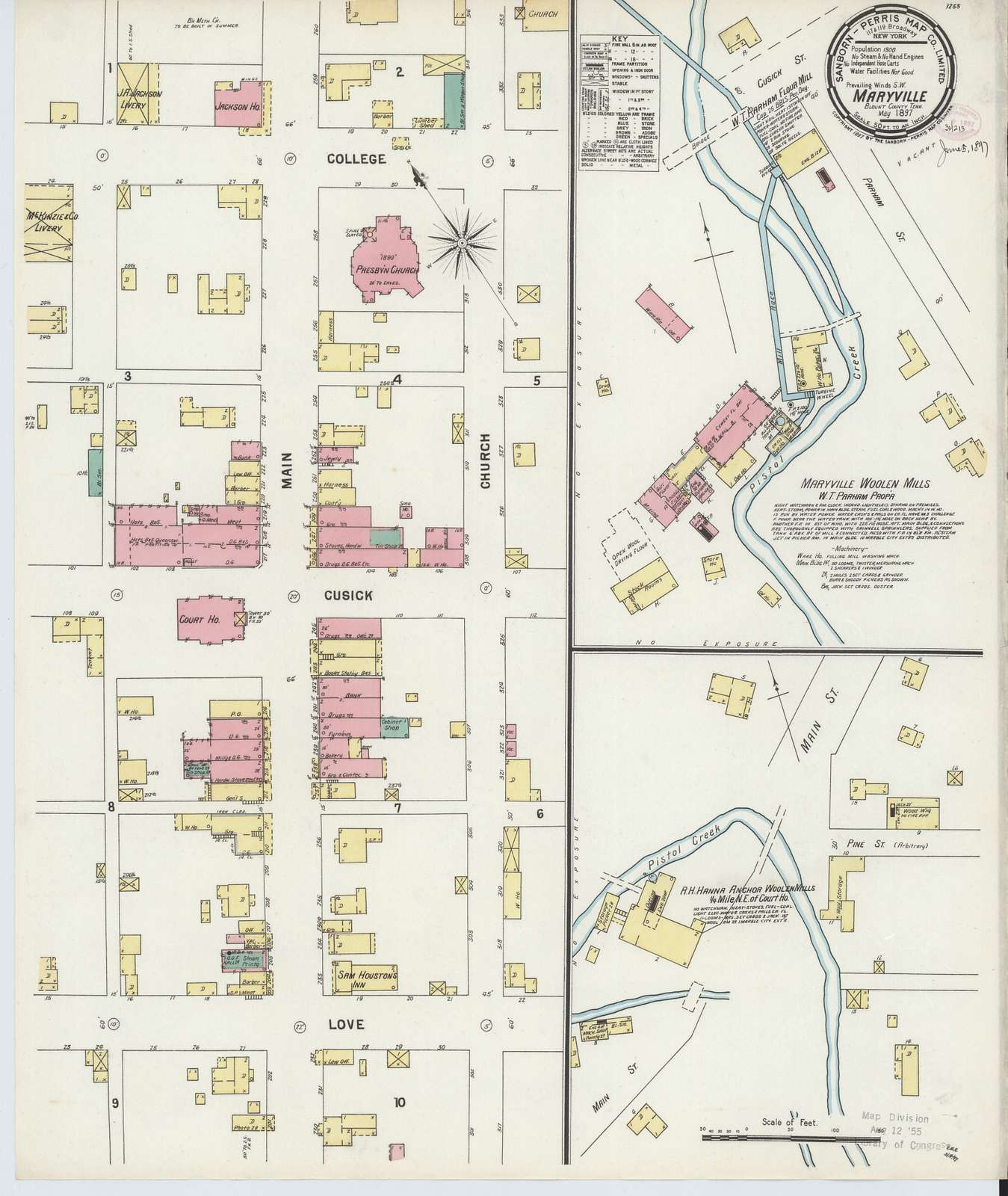 Sanborn Fire Insurance Map from Maryville, Blount County, Tennessee