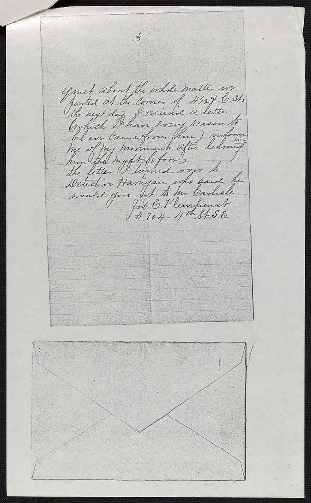William T. Sherman Papers: Addition, 1864-1897; Statement by Joseph Kleindeinst, photocopy, 1897