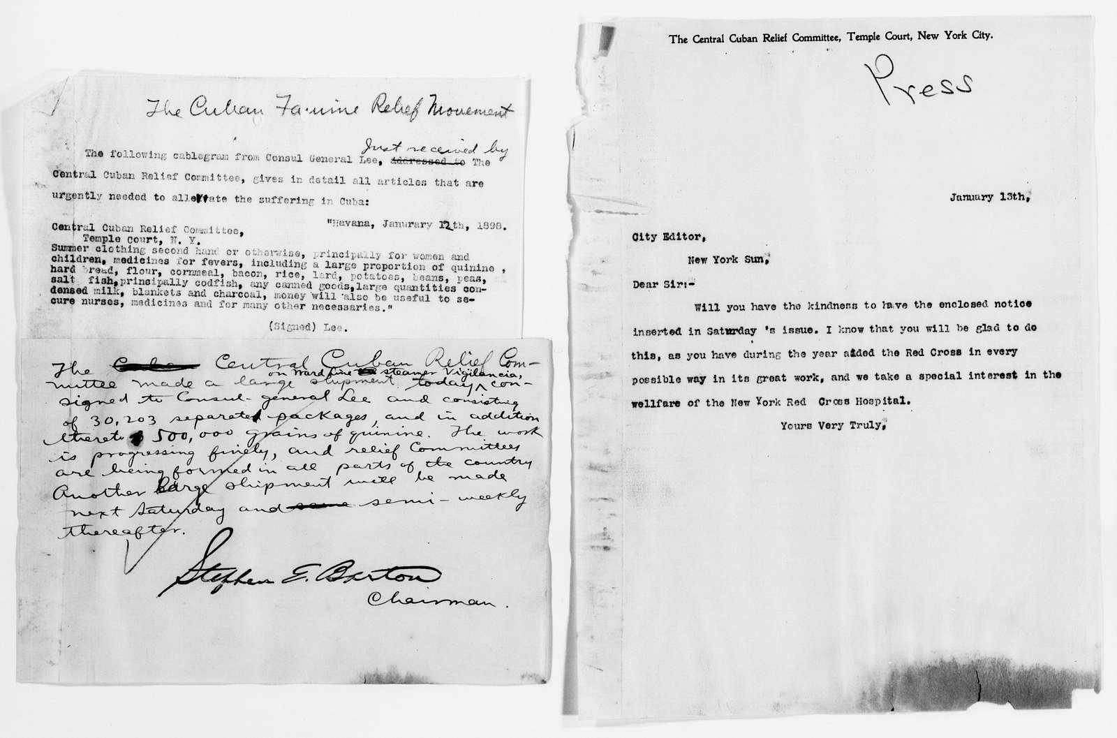 Clara Barton Papers: Red Cross File, 1863-1957; American National Red Cross, 1878-1957; Relief operations; Spanish-American War; News coverage; Press copy, letters and press releases; 1898-1899, undated