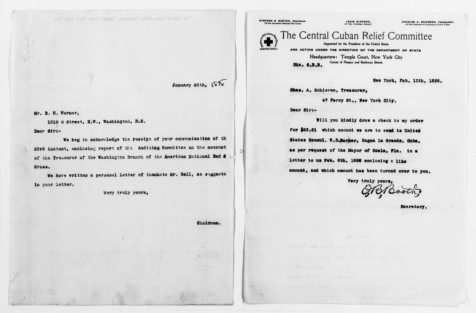 Clara Barton Papers: Red Cross File, 1863-1957; American National Red Cross, 1878-1957; Relief operations; Spanish-American War; Accounts and supplies; Correspondence, 1898-1899, undated