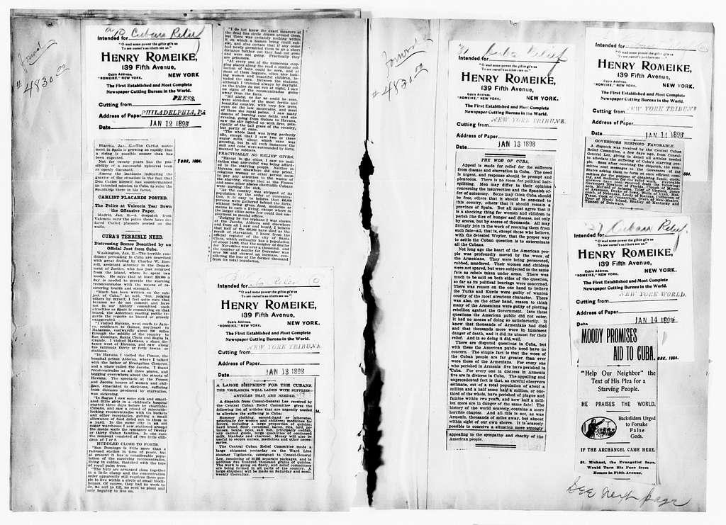Clara Barton Papers: Scrapbooks, 1835-1930; 1898, Spanish-American War