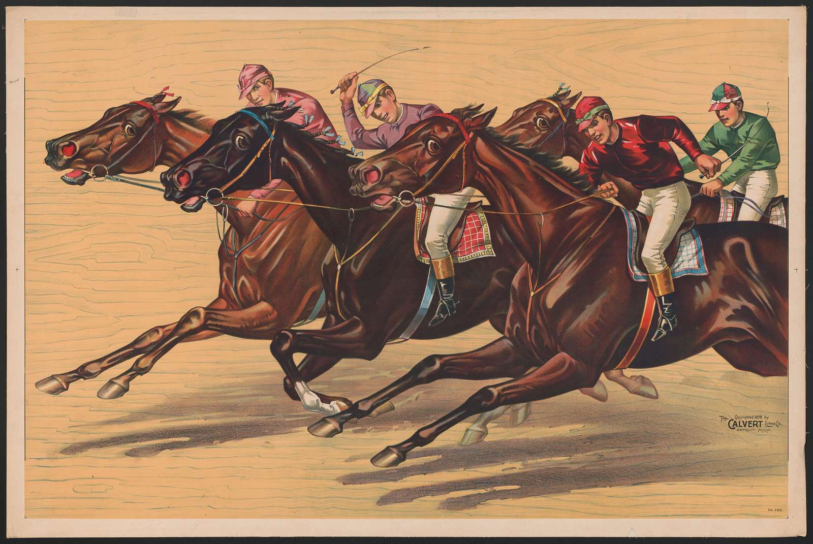Horse race with four riders