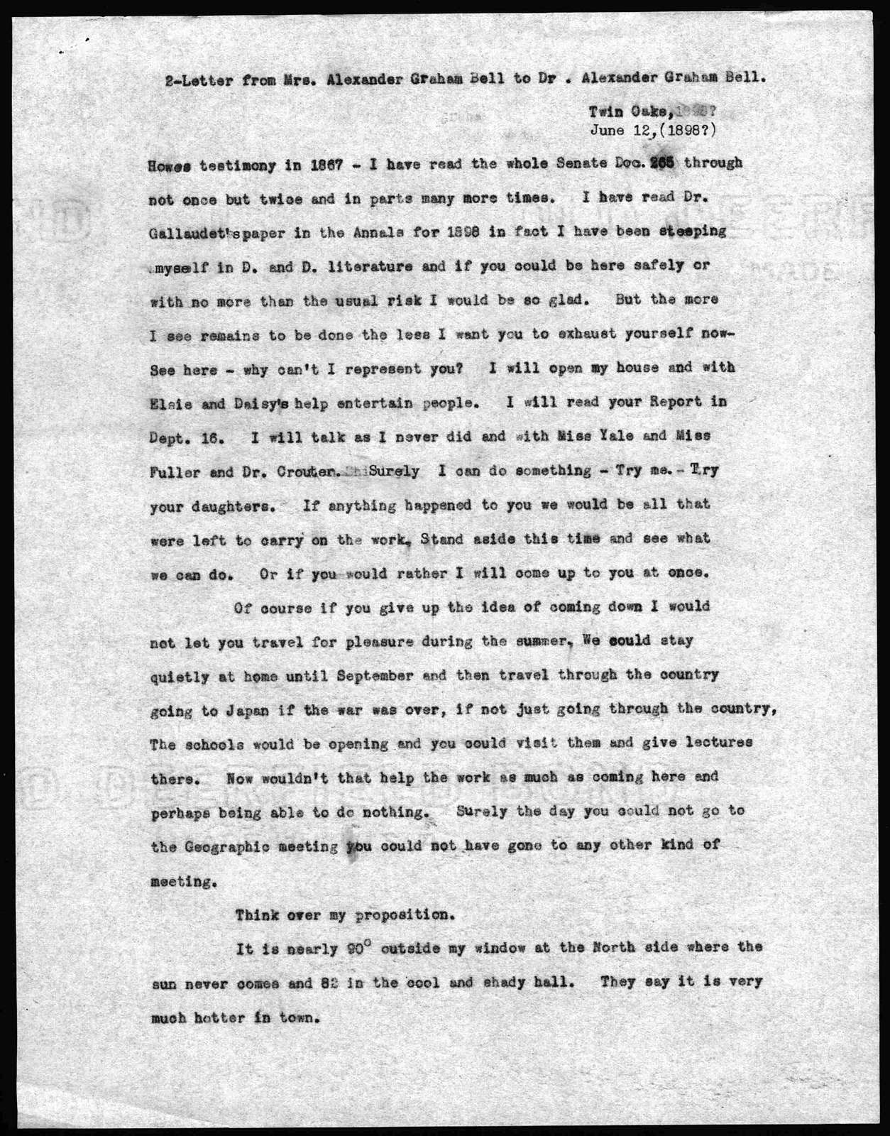 Letter from Mabel Hubbard Bell to Alexander Graham Bell, June 12