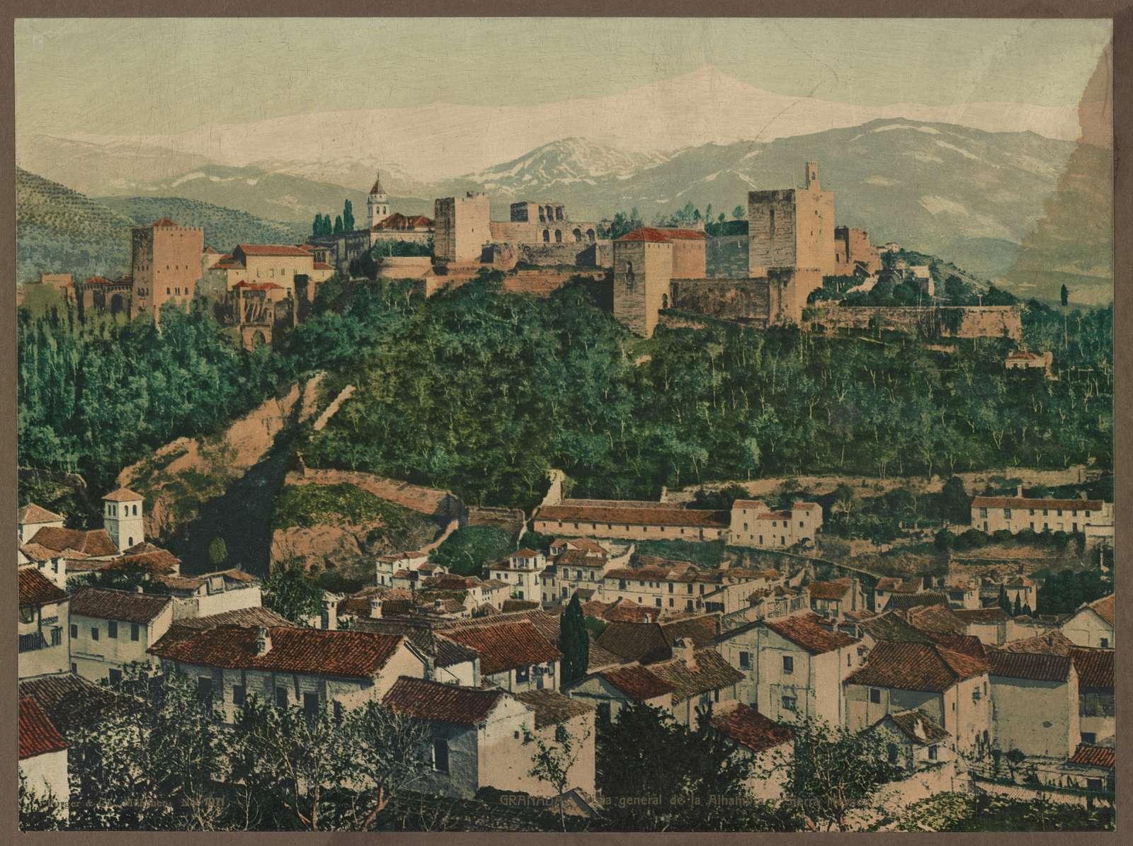 Granada. Vista generale de la Alhambra y Sierra Nevada