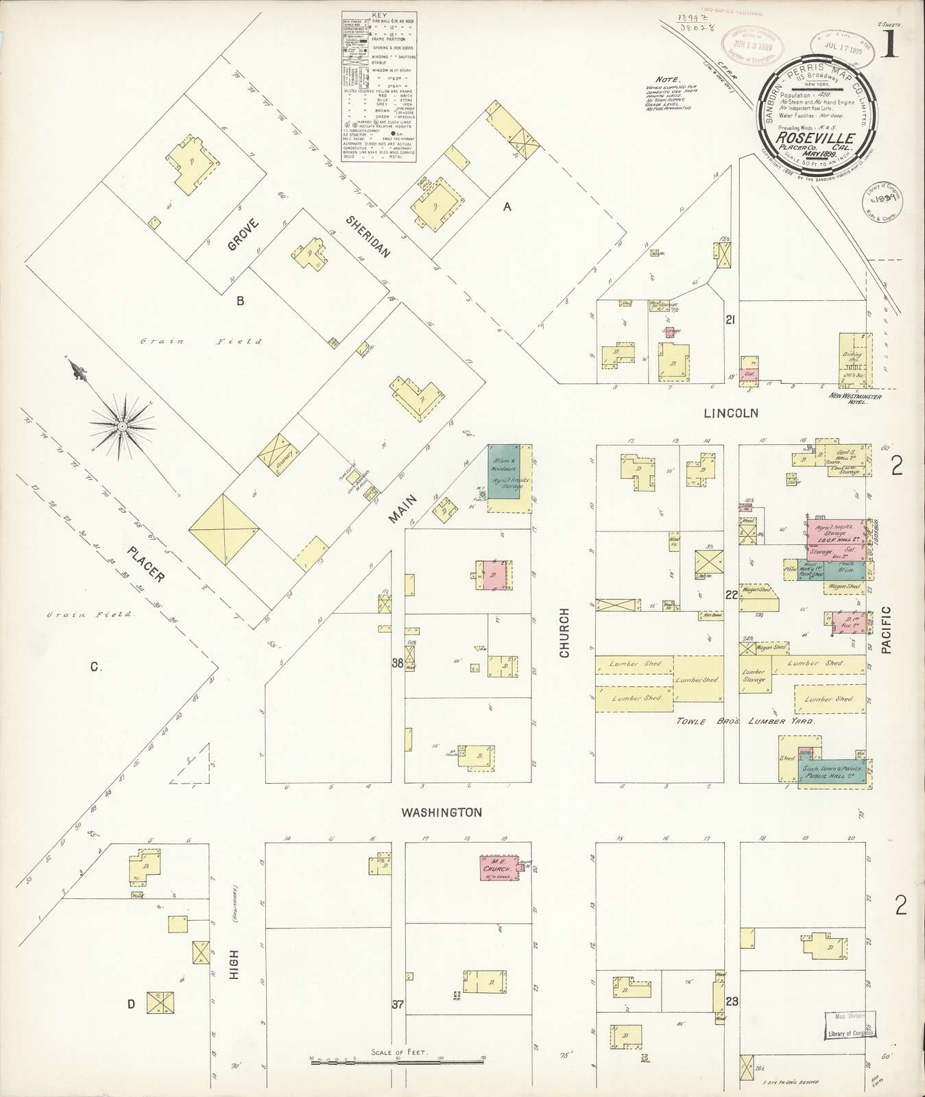 Sanborn Fire Insurance Map from Roseville, Placer County, California