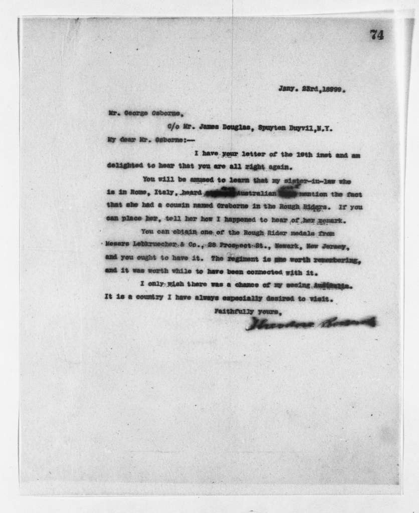 Theodore Roosevelt Papers: Series 2: Letterpress Copybooks, 1897-1916; Vol. 14, 1899, Jan. 17-Feb. 10