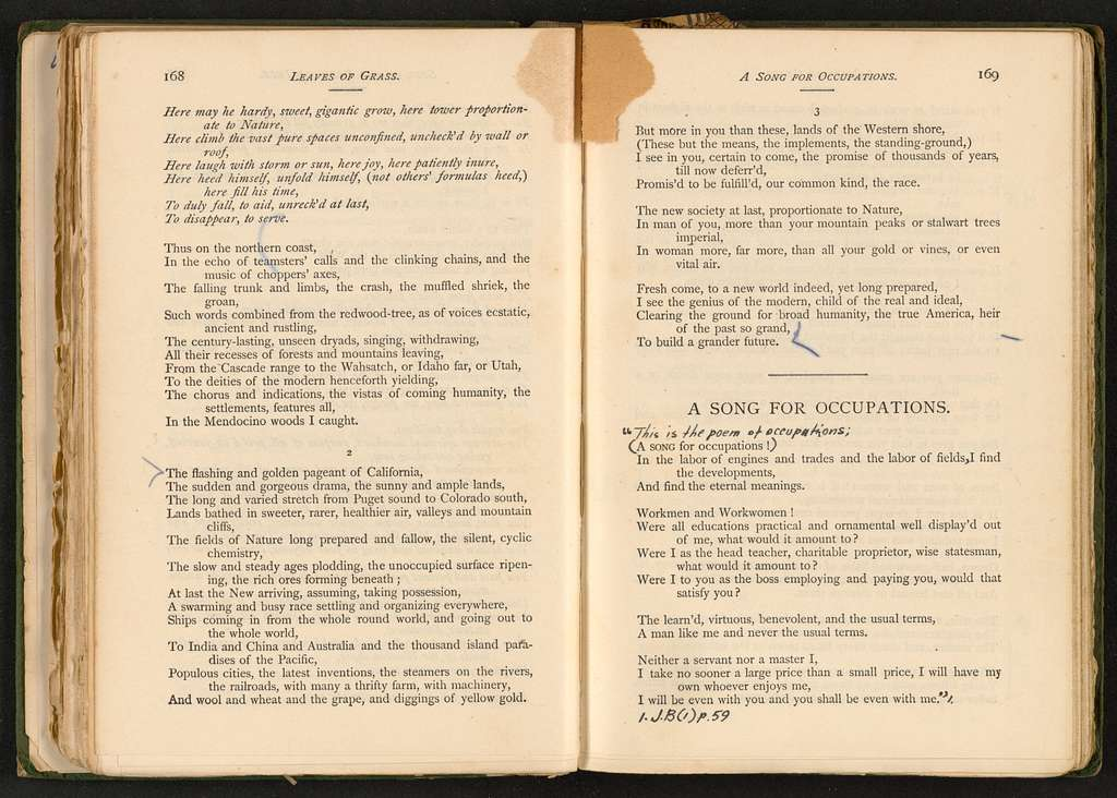 Walt Whitman Papers in the Charles E. Feinberg Collection: Addenda, 1763-1985; Addition (1997), 1763-1985; Supplementary file; Personal papers; Elliot, Charles N.; Leaves of Grass (1891), annotated copy, 1899