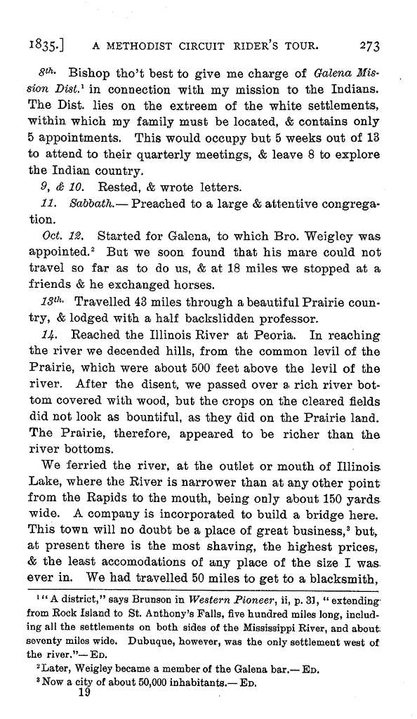 A Methodist circuit rider's horseback tour from Pennsylvania to Wisconsin, 1835