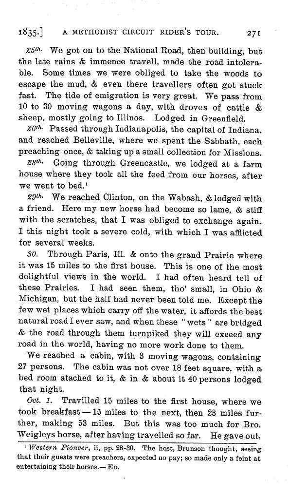 A Methodist circuit rider's horseback tour from Pennsylvania to Wisconsin, 1835