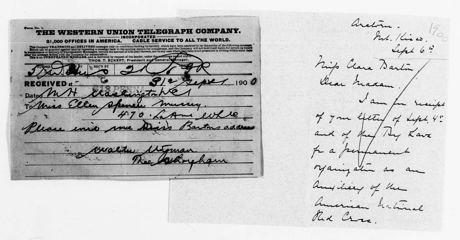 Clara Barton Papers: Red Cross File, 1863-1957; American National Red Cross, 1878-1957; Correspondence; 1900, Sept.-1901, Apr