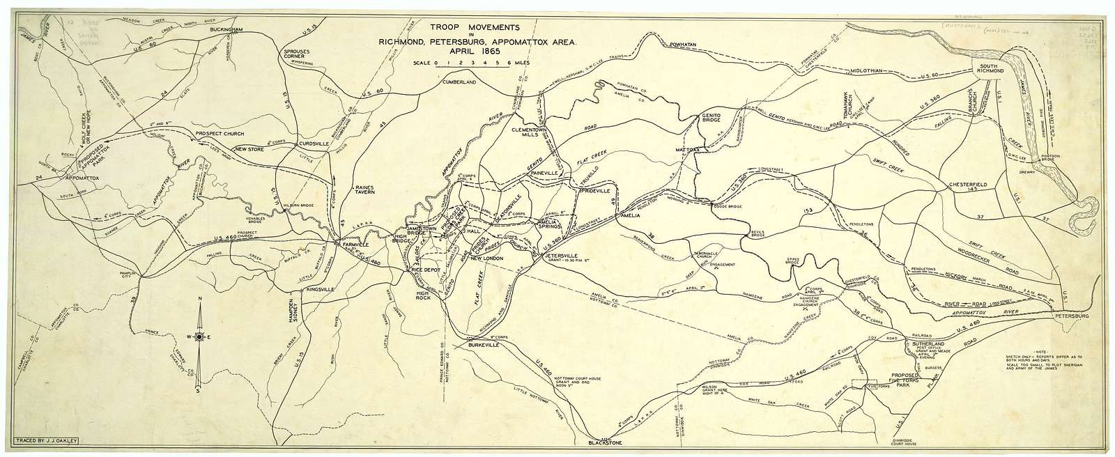 Troop movements in Richmond, Petersburg, Appomattox area, April 1865