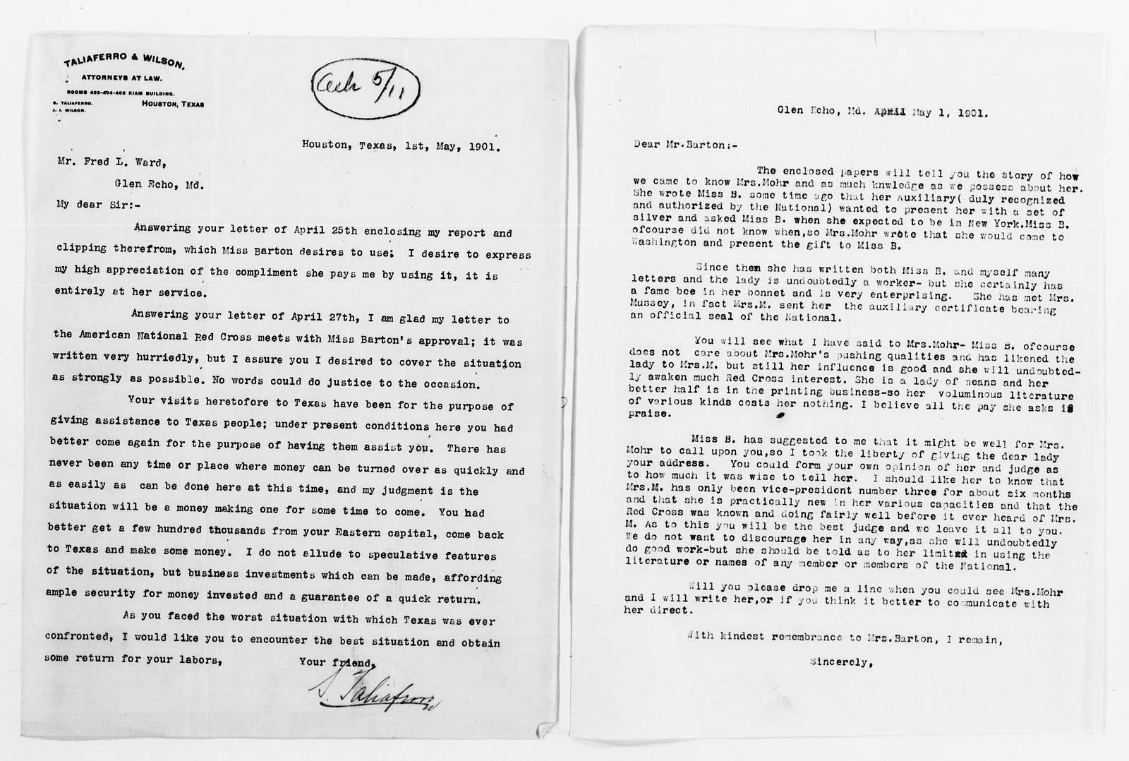 Clara Barton Papers: Red Cross File, 1863-1957; American National Red Cross, 1878-1957; Correspondence; 1901, May-1902, Dec