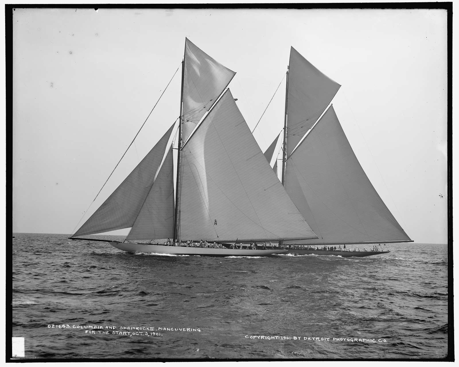 Columbia and Shamrock II maneuvering for the start, Oct. 3, 1901