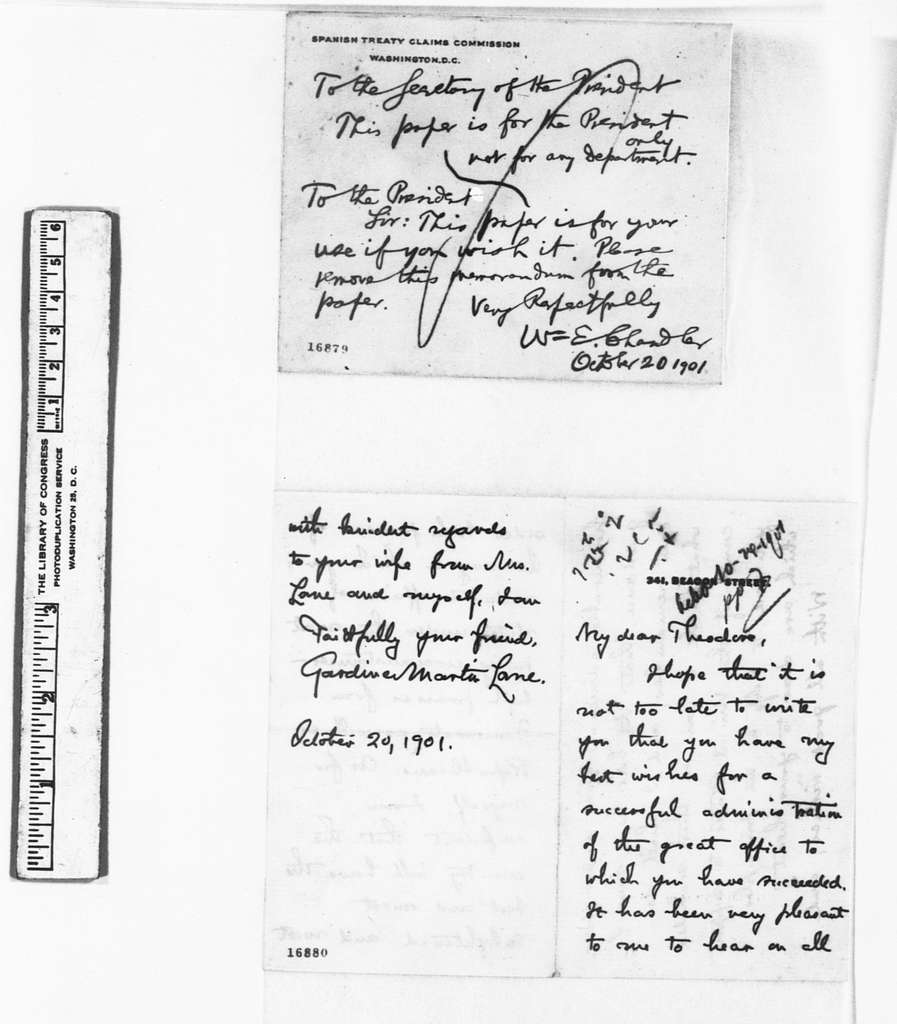 Theodore Roosevelt Papers: Series 1: Letters and Related Material, 1759-1919; 1901, Oct. 20-Nov. 11