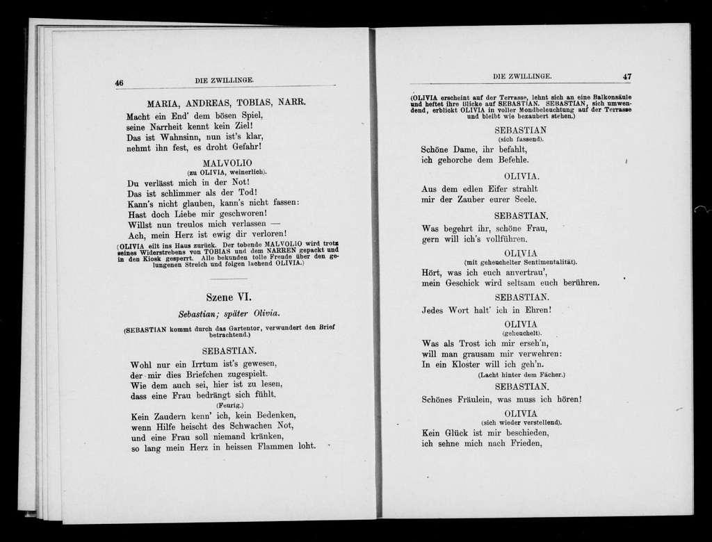 Blíženci. Libretto. German