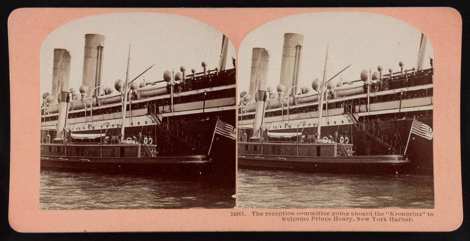 """The reception committee going aboard the """"Kronprinz"""" to welcome Prince Henry, New York harbor"""